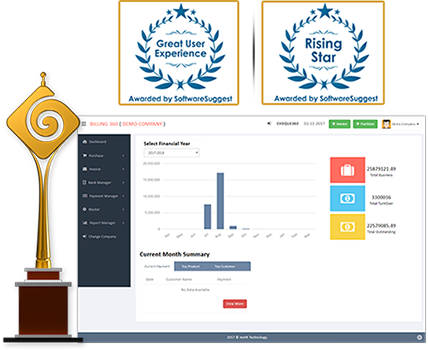 Billing360 Award by SoftwareSuggest